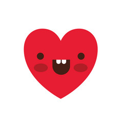 heart kawaii in cheerful expression in colorful vector image