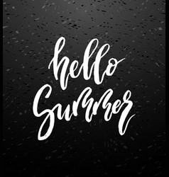 Hello summer brush lettering vector