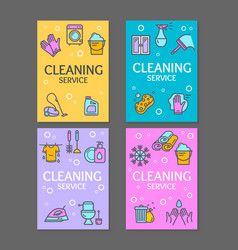 household and cleaning tools flyer banner posters vector image