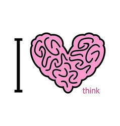 I love to think Heart symbol from brain heart vector