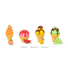 ice cream refreshing desserts set on white vector image