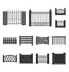 isolated object of gate and fence sign collection vector image
