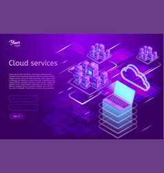 isometric showing the cloud vector image