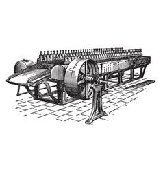 Jute softening machine vintage vector