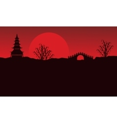 Landscape of pavilion and bridge silhouettes vector