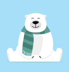 Lonely teddy bear sitting with scarf vector