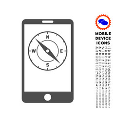 Mobile compass icon with set vector