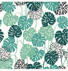 monstera leaves on stems and dots textured leaf vector image