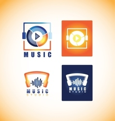 Music player studio logo icon vector