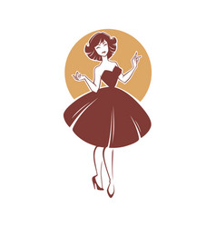 New look style girl retro lady for your logo vector