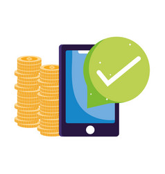 Online payment smartphone coins shopping cart vector