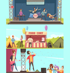 Open air festival banners set vector