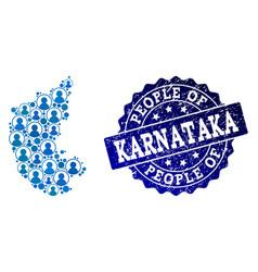People collage of mosaic map of karnataka state vector