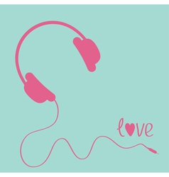 Pink headphones with cord Blue background Love vector