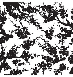 plum blossom silhouette seamless pattern vector image