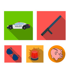 Police baton auto flasher glassespolice set vector