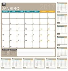 Portuguese Calendar 2017 vector