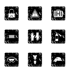Repair tools icons set grunge style vector image
