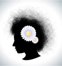 Retro girl silhouette with flowers vector image