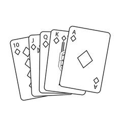 royal flush playing cards poker casino vector image