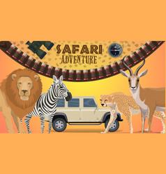 Safari adventure poster with wild animals vector