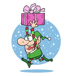 Santas Elf Runs With Gift vector image