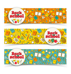 school learning horizontal banners vector image