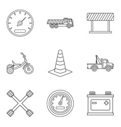 service car icons set outline style vector image