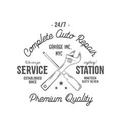 Service station vintage label tee design graphics vector