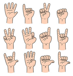 set of cartoon hand vector image
