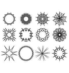 set of contour spirographs circular pattern vector image