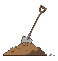 Shovel in dirt cartoon freehand vector