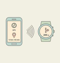 Smartwatch and smartphone vector