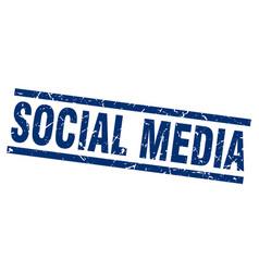 square grunge blue social media stamp vector image