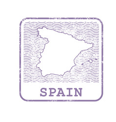 Stamp with contour of map of spain vector