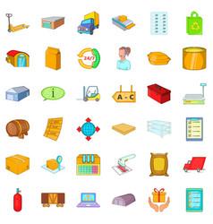 Storehouse icons set cartoon style vector