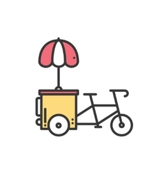 Street food retail thin line icon Tricycle trade vector image