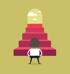 successful african businessman climbing steps vector image