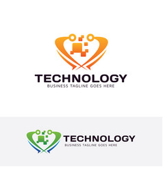 technology logo design vector image