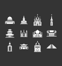 Temple icon set grey vector