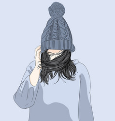 the girl wore a hat and her sweater in the winter vector image
