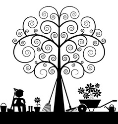 Tree Silhouette with Gardening Tools and Sitting vector image