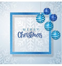 white and blue merry christmas banner background vector image