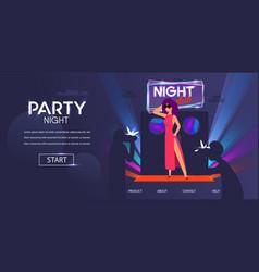 Woman celebrity posing at night club door entrance vector