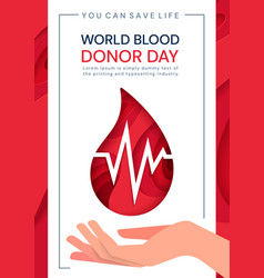 World blood donor day poster with heartbeat vector