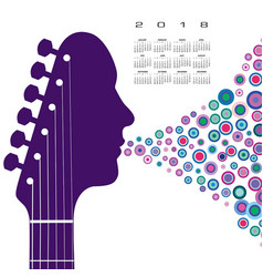 a 2018 calendar with a guitar headstock man vector image vector image