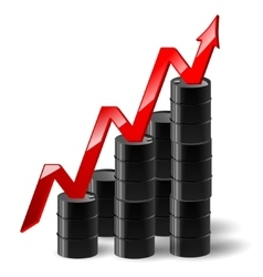black metal oil barrel with graph and a red arrow vector image