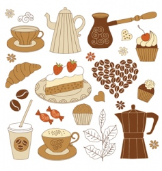 coffee and dessert set vector image vector image