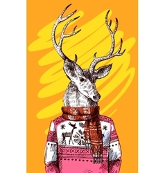 Deer in knitted sweater vector image