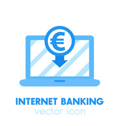 internet banking payment in euro icon vector image vector image